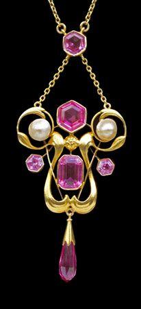 Pink tourmaline Art Nouveau Necklace. @Deidra Brocké Wallace