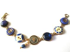 Christian CROSS antique button bracelet, 1800s buttons, glass buttons. One of a kind