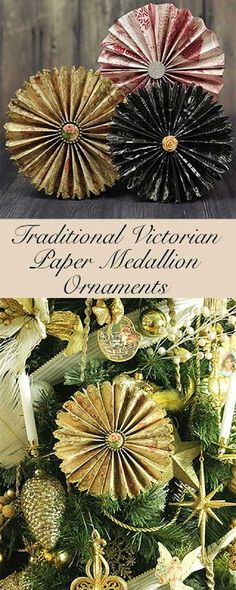 Victorian Paper Fan Medallion Oranaments How to make traditional victorian paper ornaments for the christmas tree. These folded paper medallions and fast and easy to make! Victorian Christmas Decorations, Victorian Crafts, Paper Christmas Decorations, Victorian Christmas Ornaments, Paper Christmas Ornaments, Noel Christmas, White Christmas, Vintage Ornaments, Wreaths