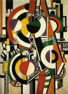 """Discs - Fernand Leger  - """"mechanical period"""", during which the figures and objects he painted were characterized by sleekly rendered tubular and machine-like forms. Starting in 1918, he also produced the first paintings in the Disk series, in which disks suggestive of traffic lights figure prominently."""
