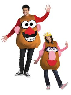 Mrs / Mr Potato Head Costume One Foam Overlay w/EarsMale and Female EyesMale and Female NoseMustacheMale MouthFemale LipsFemale HatBring a classic childhood to Jessie Toy Story Costume, Toy Story Halloween Costume, Funny Couple Halloween Costumes, Toy Story Costumes, Family Costumes, Funny Adult Costumes, Clever Costumes, Toddler Costumes, Costume Ideas