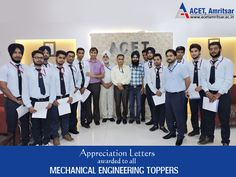 To encourage students for their amazing performance, #Appreciation Letters were awarded to all academic #Toppers of #Mechanical Engineering by Dr. V.K. Banga (Principal).  Heartiest Congratulations!