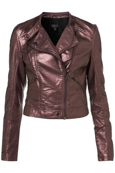 Topshop Metallic Clean Biker Jacket