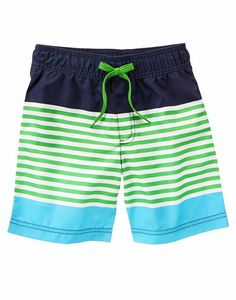 Gymboree Boys Size 7 Nautical Navy Colorblock Stripe Swim Shorts NWT   #Gymboree #SwimShorts