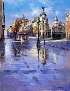 Madrid // by Ricardo Sanz City Scape Watercolor Architecture, Urban Architecture, Watercolor Landscape, Landscape Paintings, Watercolor Paintings, Art Paintings, Watercolors, Spanish Painters, Spanish Artists
