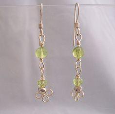 Unique Earrings For Girlfriend Gift, Unique Simple Earrings, Handmade Peridot and Wire Earrings