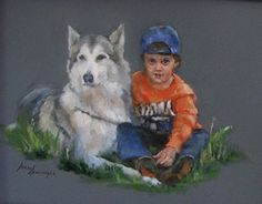 A Boy and his Dog-pastel