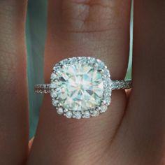 cushion cut diamond halo, this is the one!! Haha