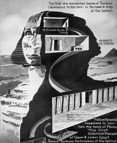 """The first of a connected series of temples (dedicated to the Sun) in the head & body of the Sphinx. The main temple filling the body of the sphinx is connected by tunnels with other temples and tombs in various directions. Ancient Egyptian Art, Ancient Ruins, Ancient Artifacts, Ancient History, Egyptian Crafts, Egyptian Mythology, Gizeh, Sphinx, Aliens And Ufos"