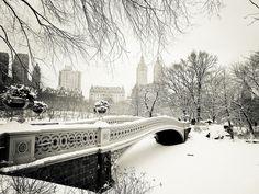 New York Winter - Central Park Snow at Bow Bridge
