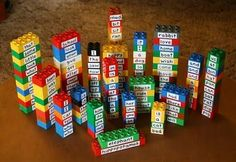 ABC order with spelling words using Legos...GENIUS!... could do with numbers or decimals too - least to greatest