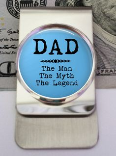 DAD  The Man The Myth The Legend Money or Credit Clip by RosiesPendants Unique Gifts For Dad, Customized Gifts, The Man, Dads, Money, Unique Jewelry, Handmade Gifts, Etsy, Craft Gifts