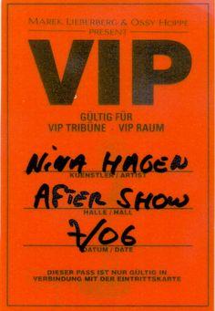 Nina Hagen – After-Show-Pass Original VIP-Pass zur Tour 2006. Zugang zur VIP-Tribüne, VIP-Raum und After Show Party. www.starcollector.de