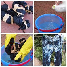 Tie dye your jeans with bleach. Diy Tie Dye Jeans, How To Dye Jeans, Shibori, How To Tie Dye, How To Dye Fabric, Diy Pantalon, Jean Diy, Bleached Jeans, Tye Dye