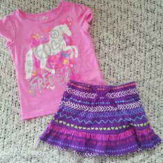2pc Girls outfit Super cute girls outfit. Shirts is size 6 skirt size 6/6x. Skirt has attached shorts as pictured. No stains or holes. Other