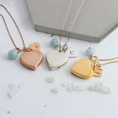 Heart Photo Locket Necklace Personalised with Letter Charm and Aquamarine Birthstone for March in Silver, Rose gold or Gold