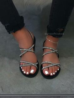 SIZE Heel Height Approx: DETAILS Double Rhinestone Straps Back Strap and Buckle Closure Rhinestones Around Sole Silver Rhinestones Chunky Sole True to Size Bling Sandals, Rhinestone Sandals, Cute Sandals, Strappy Sandals, Shoes Sandals, Fashion Slippers, Fashion Shoes, Aesthetic Shoes, Hype Shoes