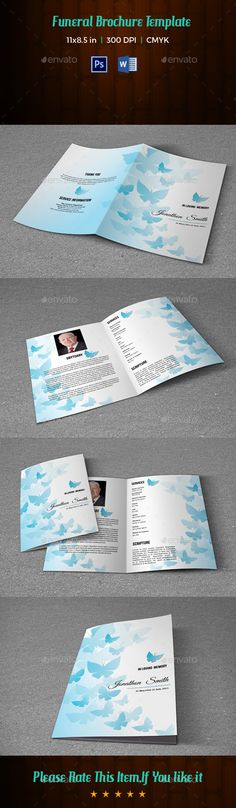 Memorial Funeral Program Template-V133 by FuneralTemplates Funeral Program Template