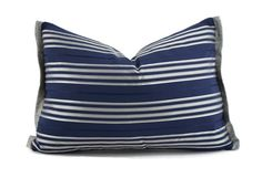 Navy Blue & Silver Stripe Lumbar Pillow Cover by ThePillowSpot