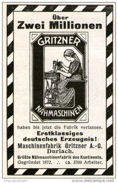 Original-Werbung/ Anzeige 1911 - GRITZNER NÄHMASCHINEN DURLACH - ca. 55 x 90 mm