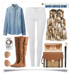 """On Trend: Winter White Denim"" by alaria ❤ liked on Polyvore featuring 7 For All Mankind, MANGO, Burberry, Zara, Bare Escentuals, Tony Moly, Uniqlo, whitejeans and winterwhite"
