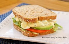 """The Kitchen Life of a Navy Wife: Greek Yogurt Egg Salad Sandwich. Lighter than regular egg salad, and I sure hope I don't replace the """"eeeeh"""" of mayo with the """"eeeeh"""" of Greek yogurt."""