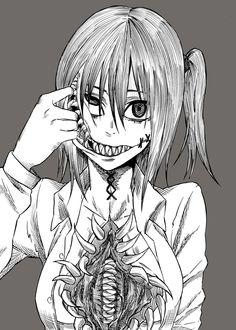 Terror e Horror - Anime Otaku Anime, Manga Anime, Anime Art, Anime Eyes, Arte Horror, Horror Art, Horror Cartoon, Creepy Art, Scary