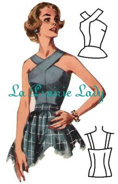 Repro Vintage Pattern Halter Top 50s No 6 Repro by laprairielady, $5.00