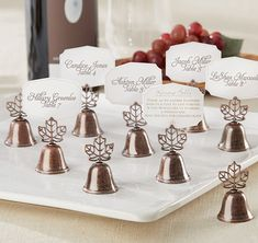 These Lustrous Leaf Kissing Bell Place Card Holders will add a charming wedding tradition to an autumn icon!  Can be used as a place card holder and to command a kiss from the newly married couple!