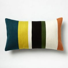 "Crewel Color Bar Pillow Cover - Blue Teal | west elm -12""x21"" - $34 (less 20% is $27.20)"