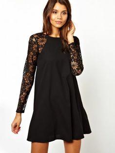 Black Contrast Lace Long Sleeve Chiffon Dress