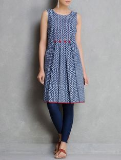 Buy Blue Dabu Printed & Pleated with Hand Made Tassels Cotton Tunic by Sonal Kabra Apparel Tunics Kurtas Mystical… Kurti Neck Designs, Dress Neck Designs, Salwar Designs, Blouse Designs, Pakistani Dress Design, Pakistani Dresses, Indian Dresses, Kurti Patterns, Dress Patterns