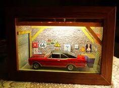 Αποτέλεσμα εικόνας για shadow box garage miniature ideas