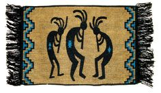 "Placemat Table Mat Native American / Southwestern Kokopelli Fringed Design #8A Placemat Table Mat Native American / Southwestern Each mat measures approx. 13x19"" without the fringe or 13x24"" if you include the fringe.  Canvas backed for durability.  Just 7.95 ea w/ free shipping #placemats #homedecor  http://stores.ebay.com/Native-Sun-Products"