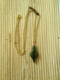 Emerald Leaf Necklace by VampyGarden on Etsy