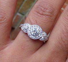 Amazing 14k Tripple Halo Diamond engagement by WorkingForAnAngel, $1350.