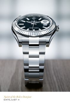 Rolex Datejust II 41mm in 904L steel and white gold with a fluted bezel, black dial and Oyster bracelet. #RolexOfficial