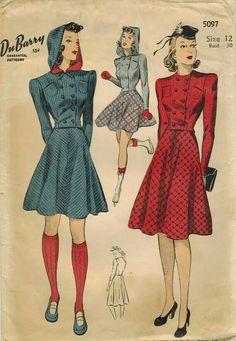 Sportswear print ad pattern color illustration early 40s era winter wear short skirt skating blue red plaid wool jacket hat shoes socks hood