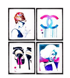 Set of 4 Fashion Art Prints for the Fashionista colorful Illustrations Salon Decor Hot Pink Hair Chanel Audrey. Just a little reminder: Airmail from England to the USA usually only takes one to three weeks to arrive - not the four to six weeks Amazon states as the shipping time. Set of 4 Fashion Art Prints for the Fashionista of my original watercolor paintings from my Fashion Series. Direct from my studio, in Suffolk, England, signed & dated. Carefully packaged for safe delivery. *Please...
