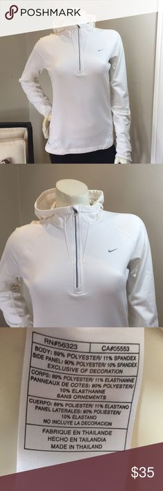 "Nike Dry Fit Pull Over Half Zip Hoodie Worn once, and has been washed once as well.  Armpit to armpit is 19"" and the length is 24"" measured down the middle of the back. Nike Tops Sweatshirts & Hoodies"