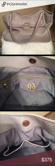 Tory Burch shoulder handbag Excellent condition, pale pebbled gray, plenty of room.  Magnetic button closure for main compartment and front pocket (both pictured).  Beautiful lining.  Inside zipper to store things and two pockets for cell phone, sunglasses, etc.  Straps are a good length and comfortable for holding all day. Tory Burch Bags Shoulder Bags