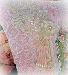 Lace Detail Romantic Victorian Crystal Roses Pillows