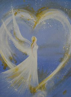 ANGEL of love Canvas Print by Catt Kyriacou. All canvas prints are professionally printed, assembled, and shipped within 3 - 4 business days and delivered ready-to-hang on your wall. Choose from multiple print sizes, border colors, and canvas materials. Angel Images, Angel Pictures, Love Canvas, Canvas Prints, Angel Artwork, Angel Paintings, Angel Drawing, Angel Crafts, Painted Rocks