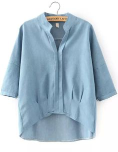 To find out about the Blue Stand Collar Dip Hem Denim Blouse at SHEIN, part of our latest Blouses ready to shop online today! Denim Blouse, Blouse And Skirt, Denim Top, Collar Blouse, Blue Denim, Mode Outfits, Casual Outfits, Fashion Outfits, Blouse Styles