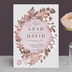 """Gilded Mod Wreath"" - Foil-pressed Wedding Invitations in Seafoam by Petra Kern."