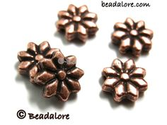 CA 50 Antique Copper Flat Flower Bead Spacer 9mm. Starting at $5 on Tophatter.com!