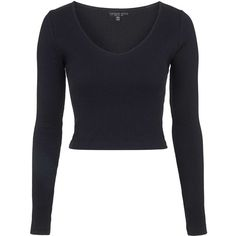 TopShop Petite v-Neck Ribbed Top ($16) ❤ liked on Polyvore featuring tops, shirts, crop tops, long sleeves, sweaters, black, long sleeve v neck shirt, long sleeve cotton shirts, petite cotton tops and lightweight long sleeve shirt