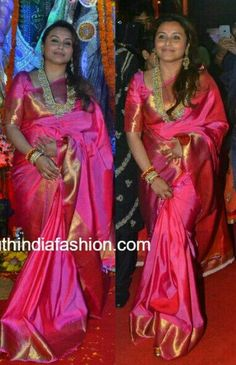 Rani in pink saree...