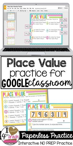 Place Value 4th grade | Place Value Activities | Google Classroom Ideas Elementary | Google Classroom Math | Interactive place value for 4th grade math skills using Google Classroom is a great way to get students excited about practicing math skills. ($)