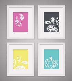 PRINTABLE grey, yellow, pink, aqua paisley nursery prints by StuffnThingsinColor on Etsy